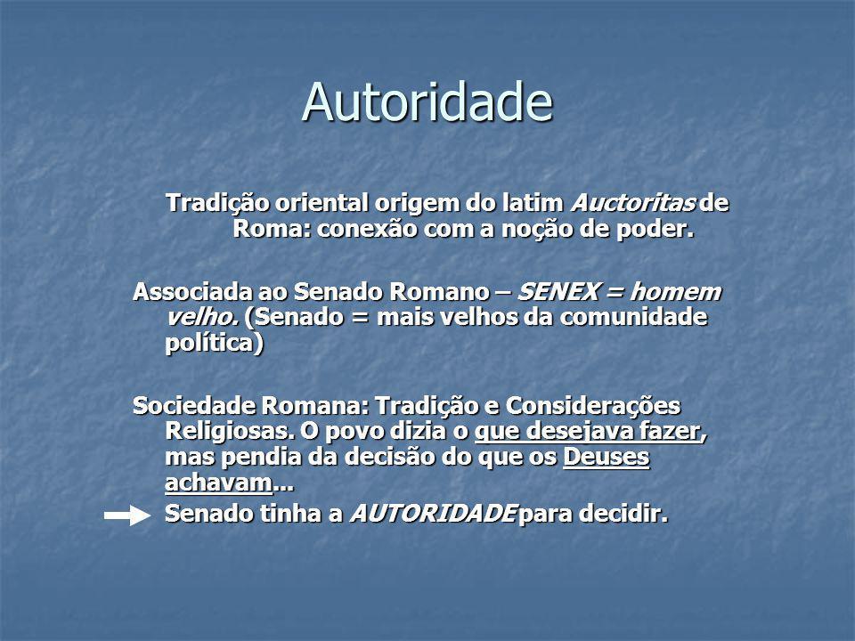 Autoridade Tradição oriental origem do latim Auctoritas de Roma: conexão com a noção de poder.