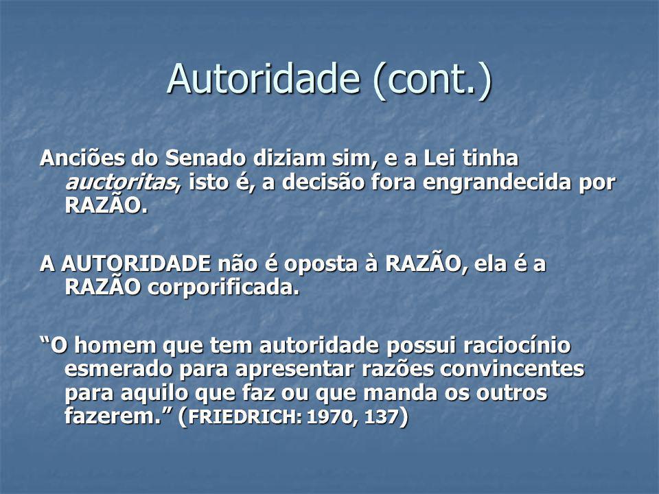 Autoridade (cont.) Anciões do Senado diziam sim, e a Lei tinha auctoritas, isto é, a decisão fora engrandecida por RAZÃO.