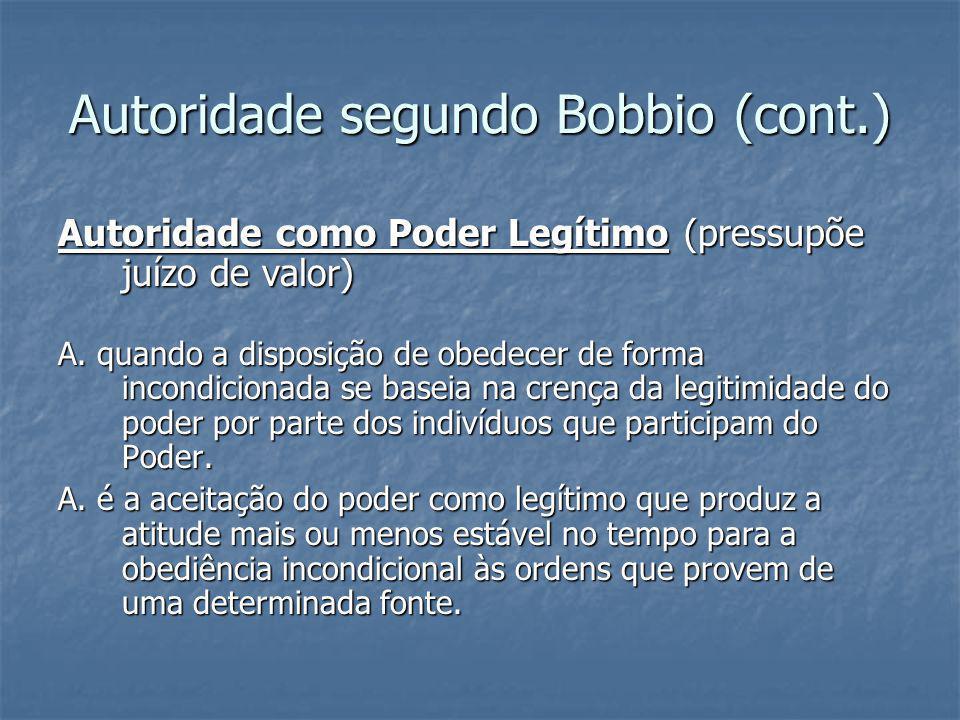 Autoridade segundo Bobbio (cont.)