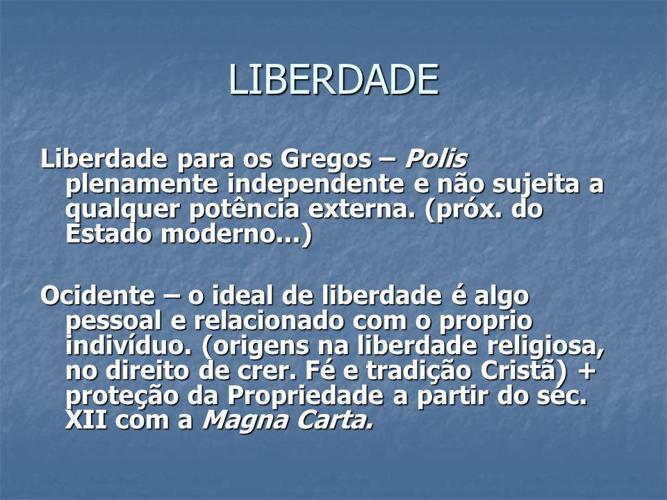 LIBERDADE Liberdade para os Gregos – Polis plenamente independente e não sujeita a qualquer potência externa. (próx. do Estado moderno...)
