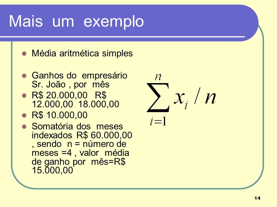 Mais um exemplo Média aritmética simples