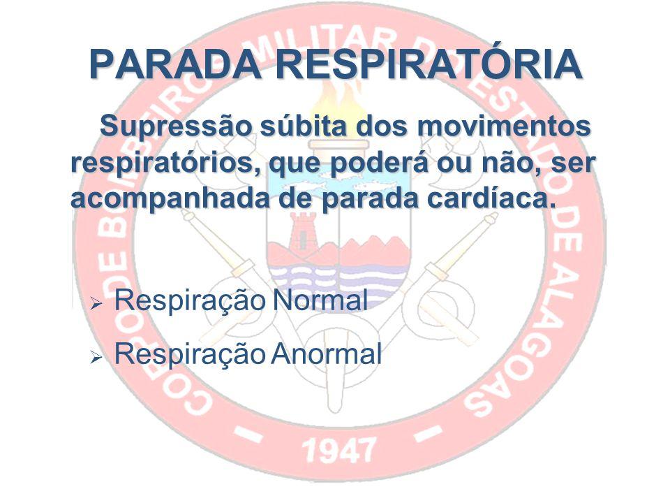 PARADA RESPIRATÓRIA Supressão súbita dos movimentos respiratórios, que poderá ou não, ser acompanhada de parada cardíaca.