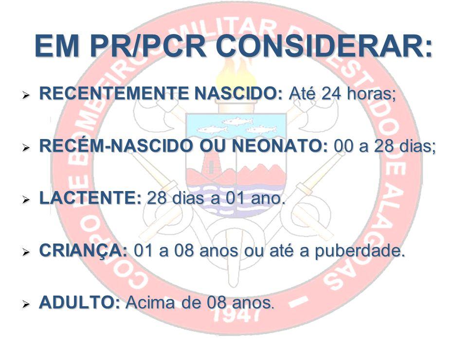 EM PR/PCR CONSIDERAR: RECENTEMENTE NASCIDO: Até 24 horas;