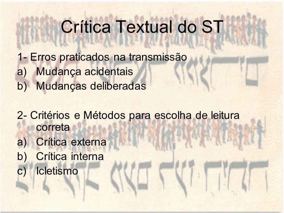 Crítica Textual do ST 1- Erros praticados na transmissão