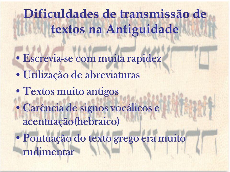 Dificuldades de transmissão de textos na Antiguidade