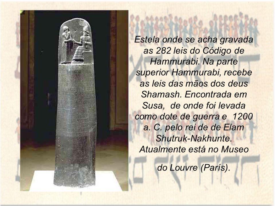 Estela onde se acha gravada as 282 leis do Código de Hammurabi