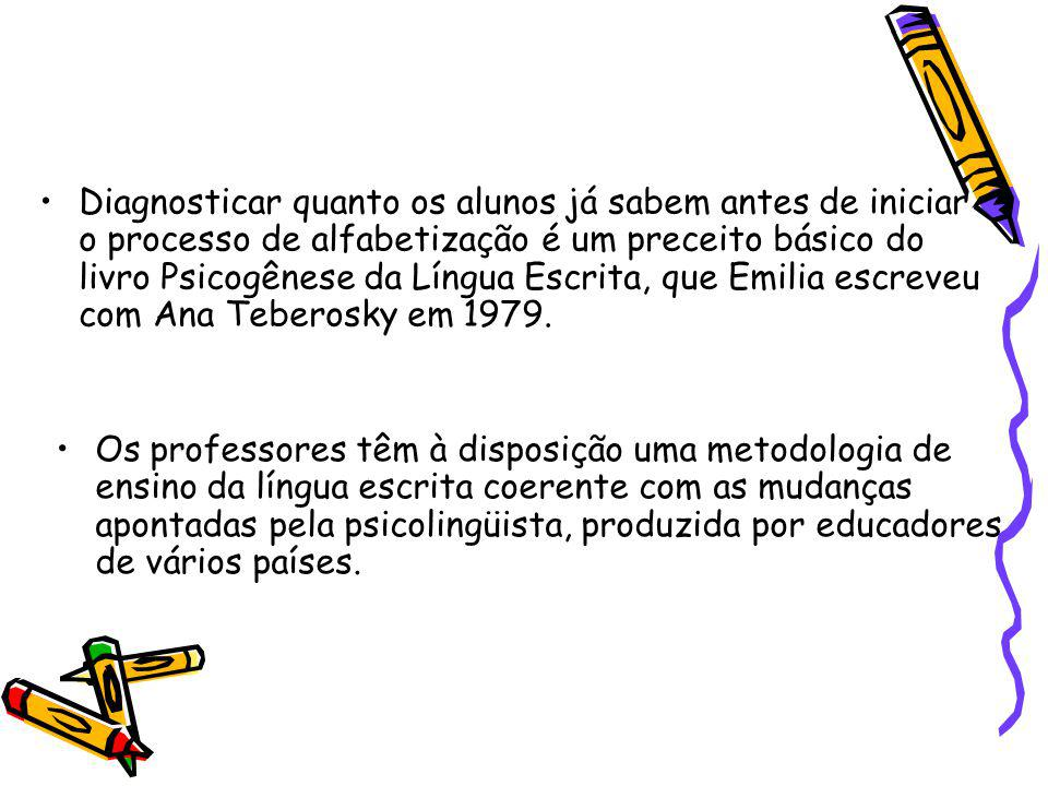 Diagnosticar quanto os alunos já sabem antes de iniciar o processo de alfabetização é um preceito básico do livro Psicogênese da Língua Escrita, que Emilia escreveu com Ana Teberosky em 1979.
