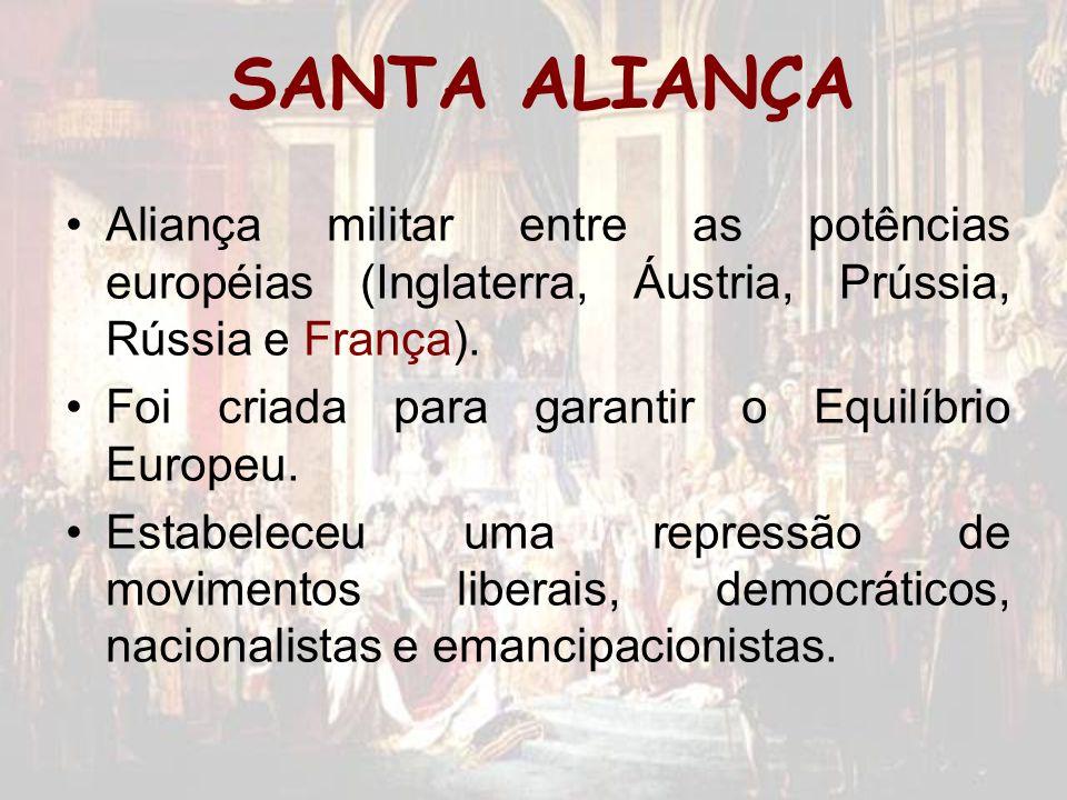 SANTA ALIANÇA Aliança militar entre as potências européias (Inglaterra, Áustria, Prússia, Rússia e França).