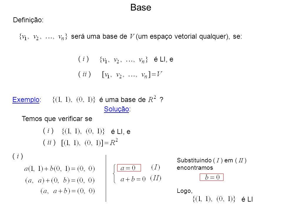 Base Definição: será uma base de V (um espaço vetorial qualquer), se: