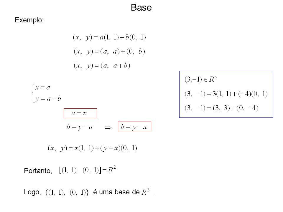 Base Exemplo: Portanto, Logo, é uma base de .