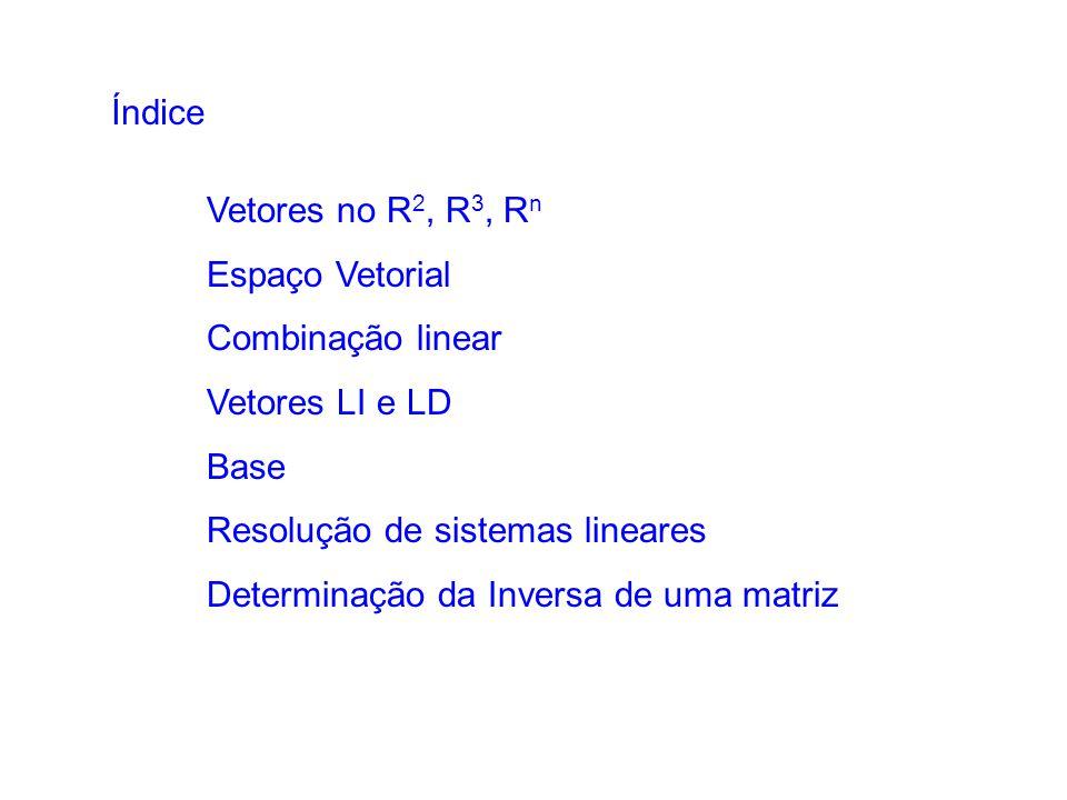 Índice Vetores no R2, R3, Rn. Espaço Vetorial. Combinação linear. Vetores LI e LD. Base. Resolução de sistemas lineares.