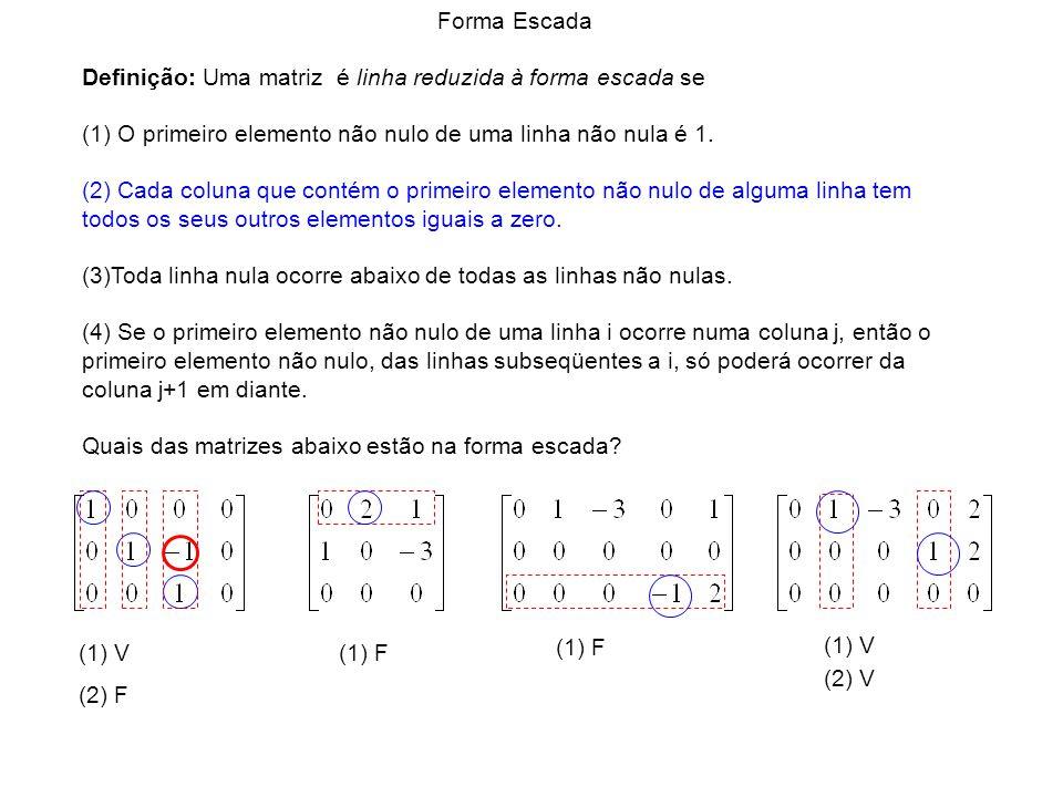 Forma Escada Definição: Uma matriz é linha reduzida à forma escada se. (1) O primeiro elemento não nulo de uma linha não nula é 1.