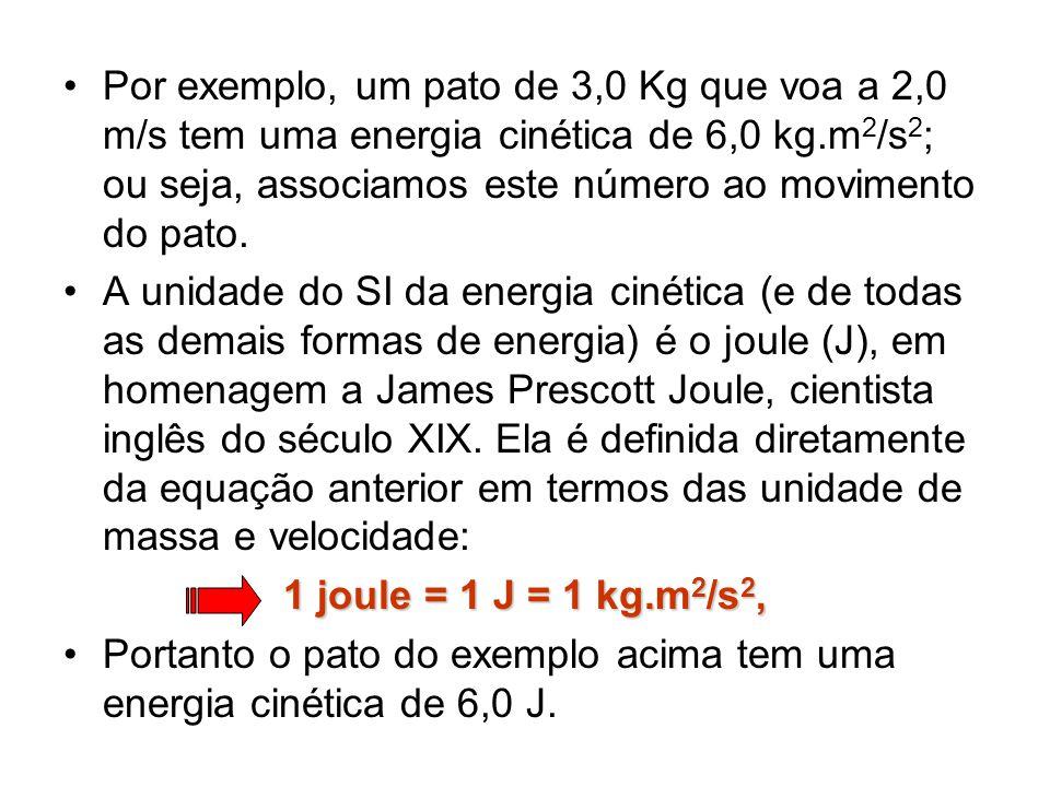 Por exemplo, um pato de 3,0 Kg que voa a 2,0 m/s tem uma energia cinética de 6,0 kg.m2/s2; ou seja, associamos este número ao movimento do pato.