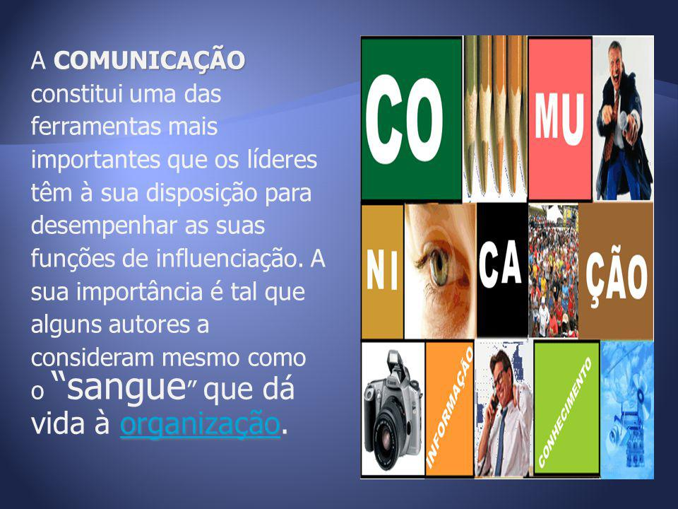 A COMUNICAÇÃO constitui uma das ferramentas mais importantes que os líderes têm à sua disposição para desempenhar as suas funções de influenciação.