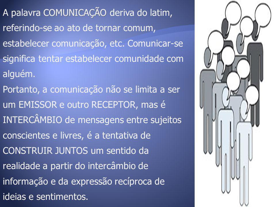 A palavra COMUNICAÇÃO deriva do latim, referindo-se ao ato de tornar comum, estabelecer comunicação, etc. Comunicar-se significa tentar estabelecer comunidade com alguém.
