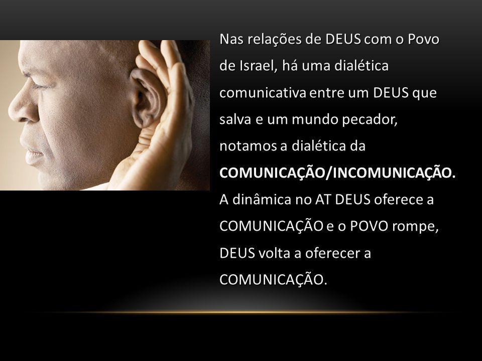 Nas relações de DEUS com o Povo de Israel, há uma dialética comunicativa entre um DEUS que salva e um mundo pecador, notamos a dialética da COMUNICAÇÃO/INCOMUNICAÇÃO.