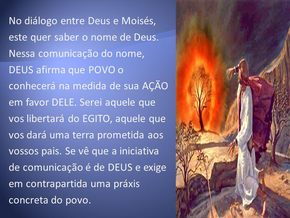 No diálogo entre Deus e Moisés, este quer saber o nome de Deus