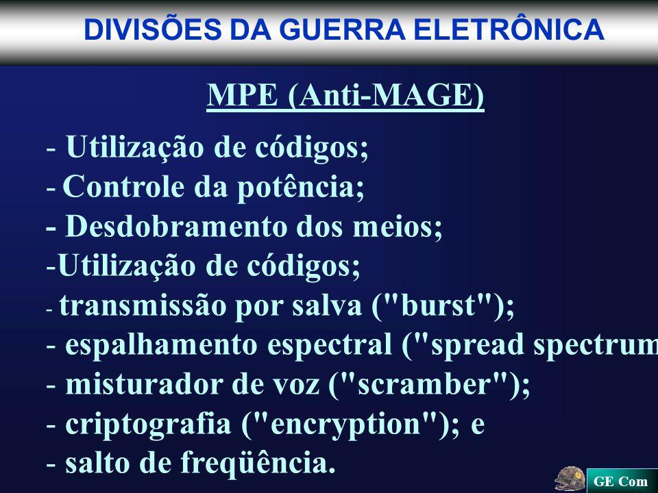 Utilização de códigos; - Controle da potência;