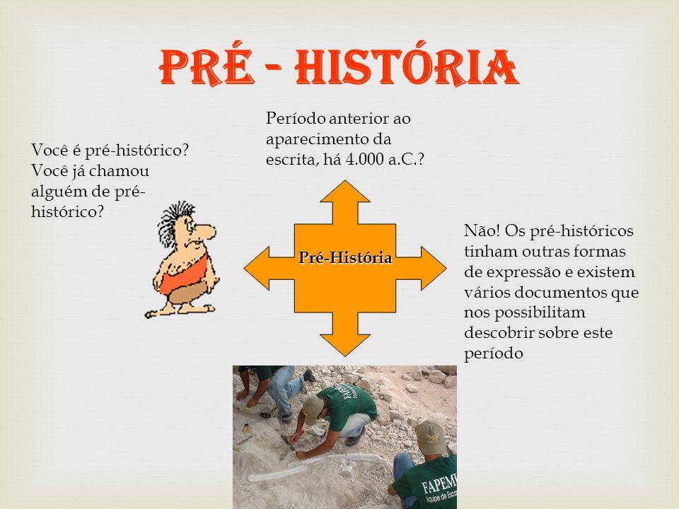 PRÉ - HISTÓRIA Período anterior ao aparecimento da escrita, há 4.000 a.C. Você é pré-histórico Você já chamou alguém de pré-histórico