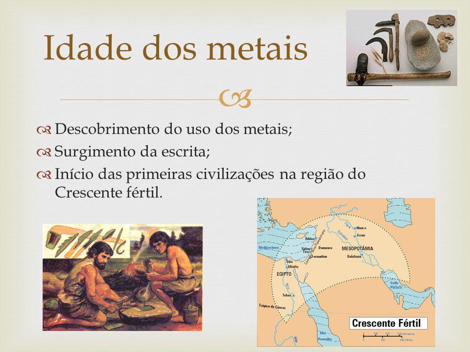 Idade dos metais Descobrimento do uso dos metais;