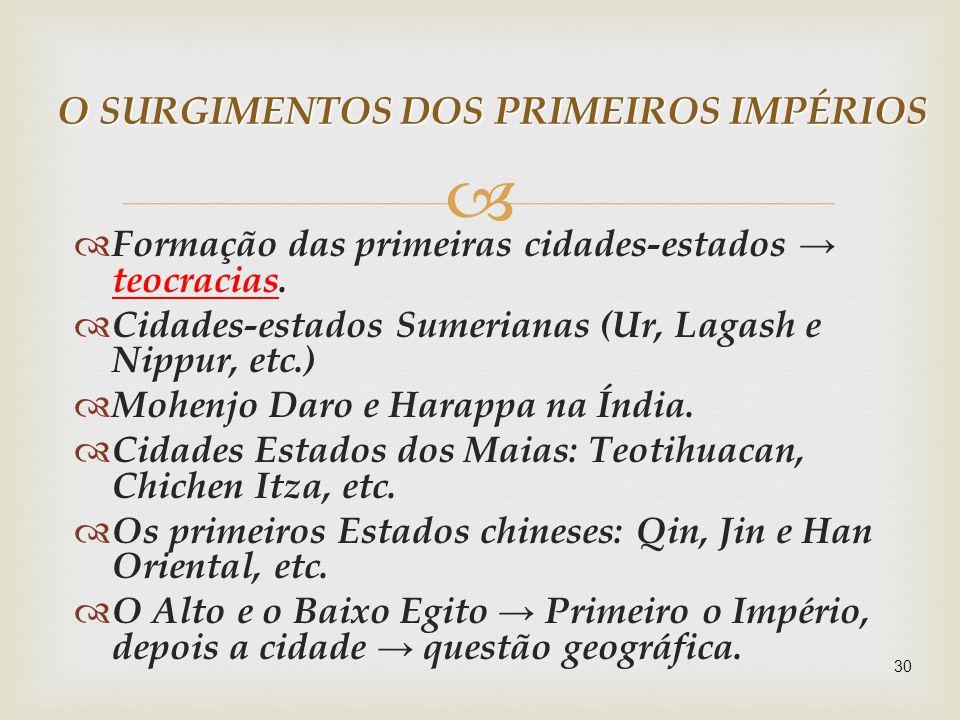 O SURGIMENTOS DOS PRIMEIROS IMPÉRIOS