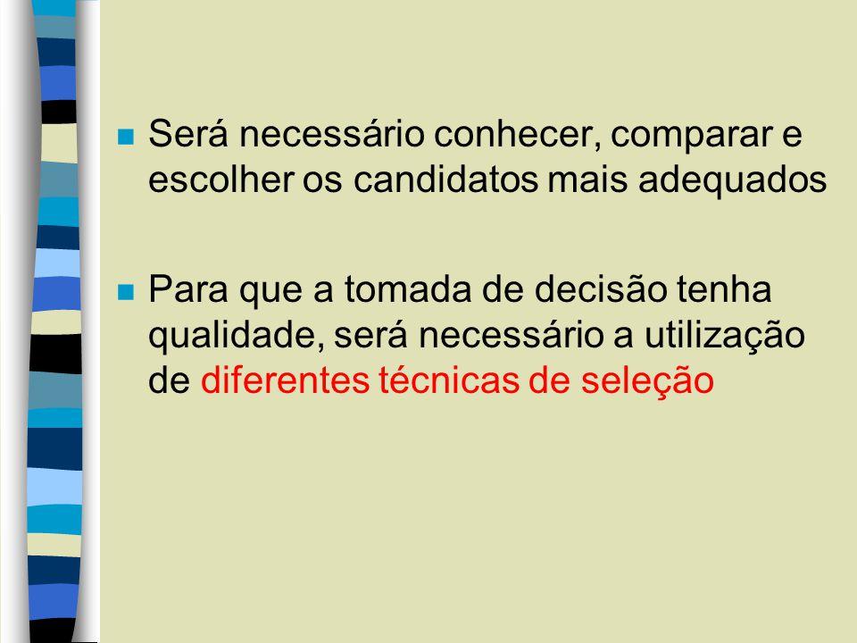 Será necessário conhecer, comparar e escolher os candidatos mais adequados