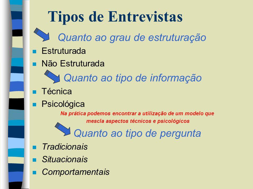 Tipos de Entrevistas Quanto ao grau de estruturação
