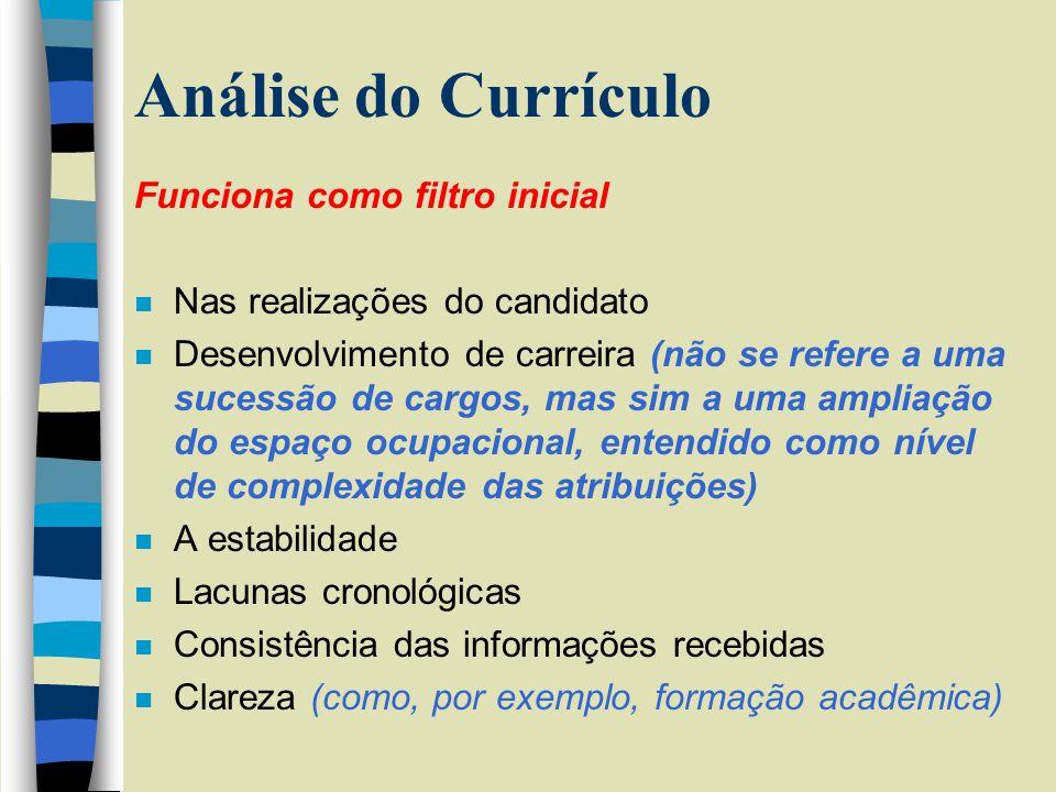 Análise do Currículo Funciona como filtro inicial