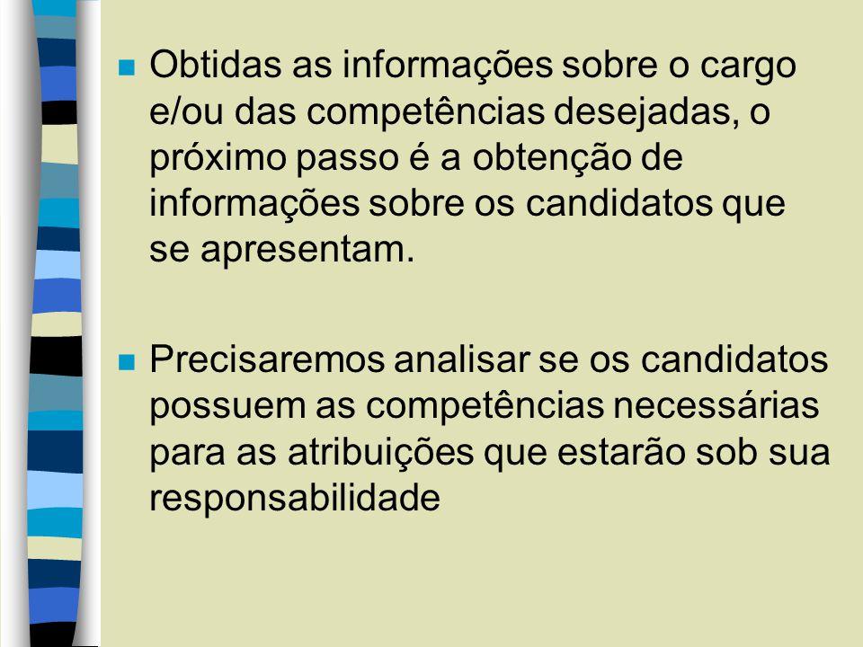 Obtidas as informações sobre o cargo e/ou das competências desejadas, o próximo passo é a obtenção de informações sobre os candidatos que se apresentam.