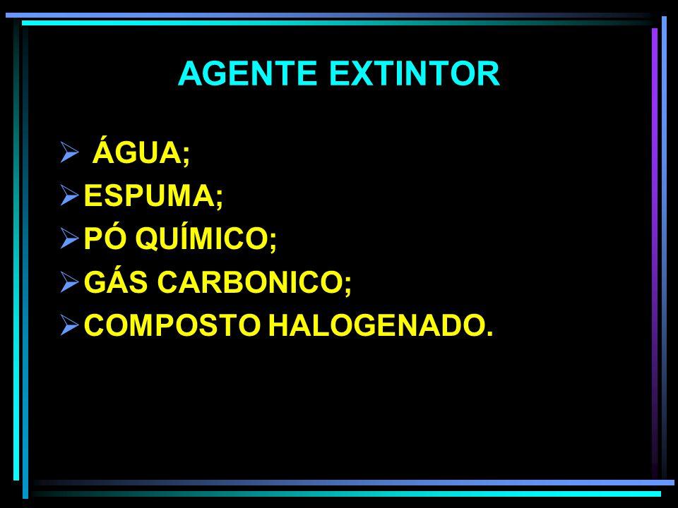 AGENTE EXTINTOR ÁGUA; ESPUMA; PÓ QUÍMICO; GÁS CARBONICO;