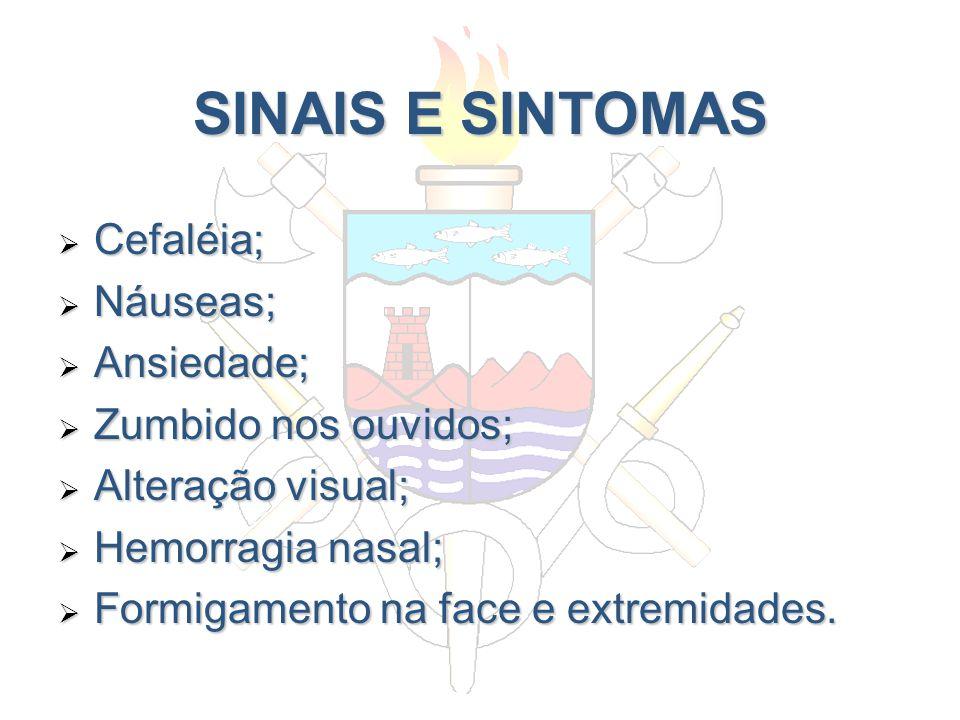 SINAIS E SINTOMAS Cefaléia; Náuseas; Ansiedade; Zumbido nos ouvidos;