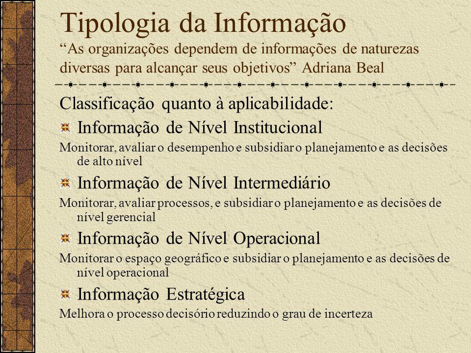 Tipologia da Informação As organizações dependem de informações de naturezas diversas para alcançar seus objetivos Adriana Beal