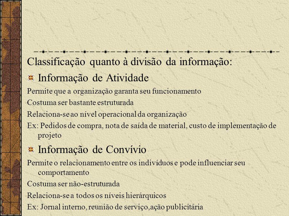 Classificação quanto à divisão da informação: Informação de Atividade