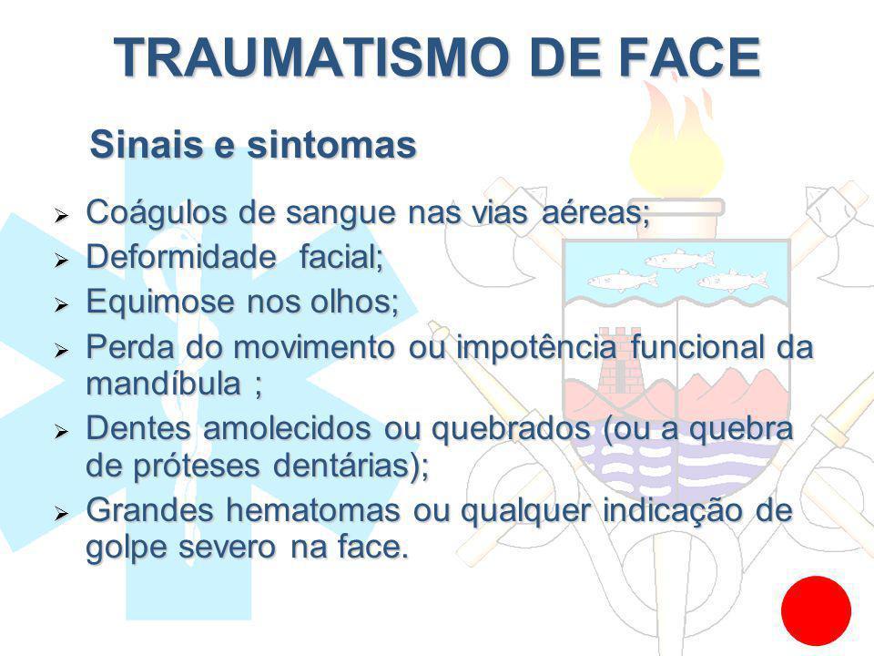 TRAUMATISMO DE FACE Sinais e sintomas