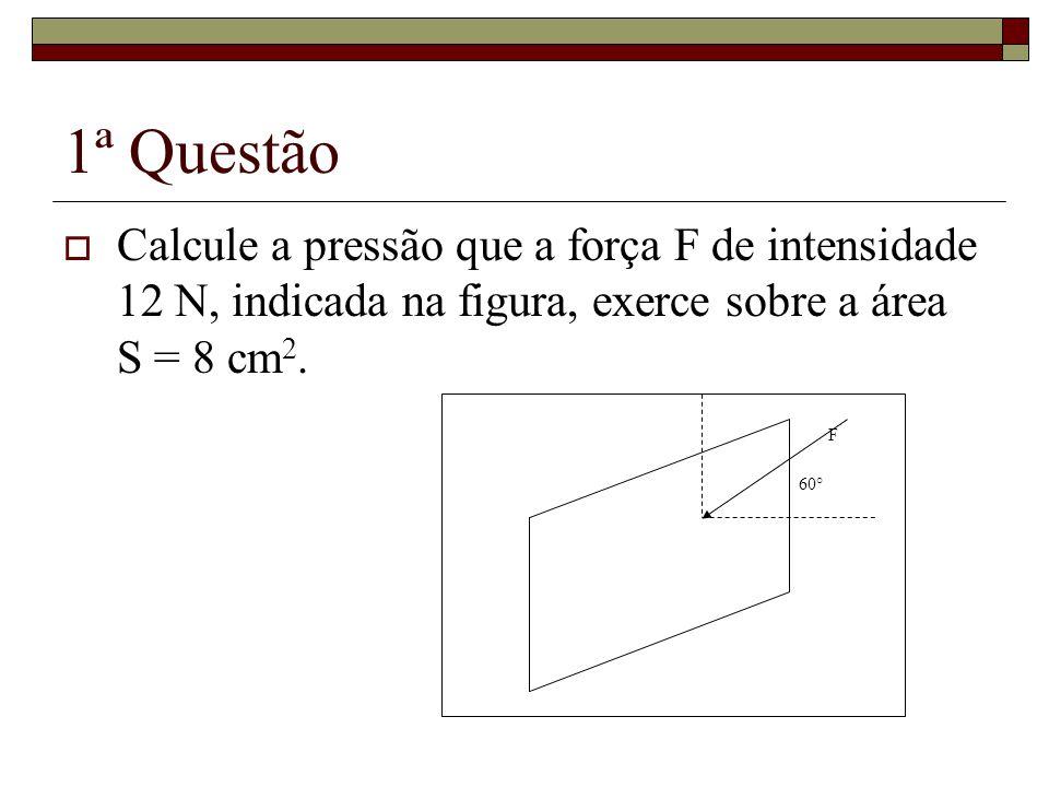 1ª Questão Calcule a pressão que a força F de intensidade 12 N, indicada na figura, exerce sobre a área S = 8 cm2.