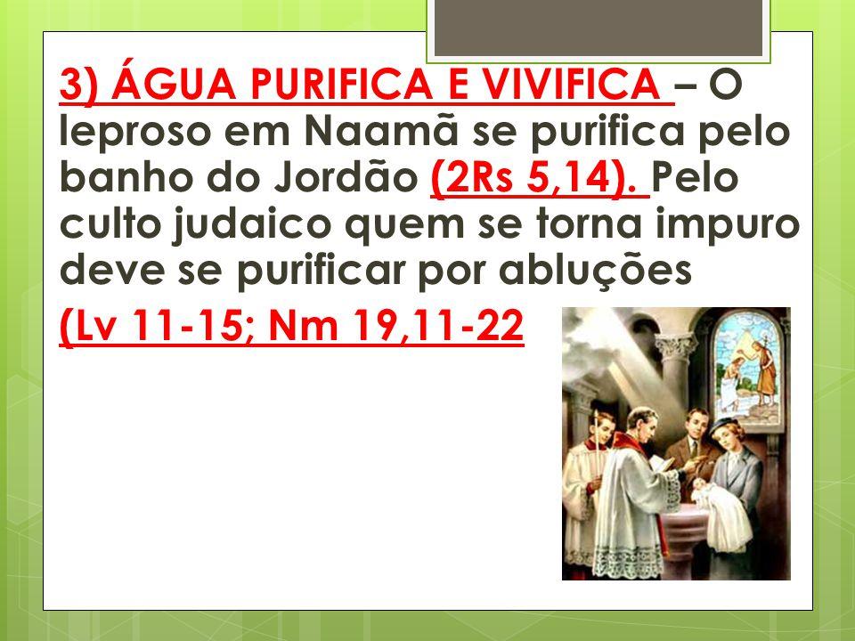 3) ÁGUA PURIFICA E VIVIFICA – O leproso em Naamã se purifica pelo banho do Jordão (2Rs 5,14). Pelo culto judaico quem se torna impuro deve se purificar por abluções