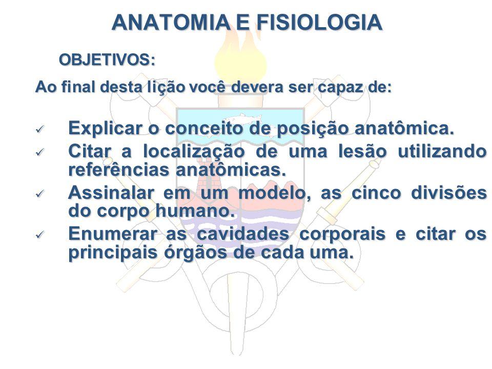 ANATOMIA E FISIOLOGIA OBJETIVOS: