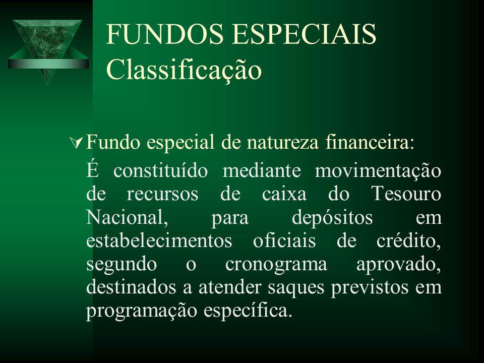 FUNDOS ESPECIAIS Classificação