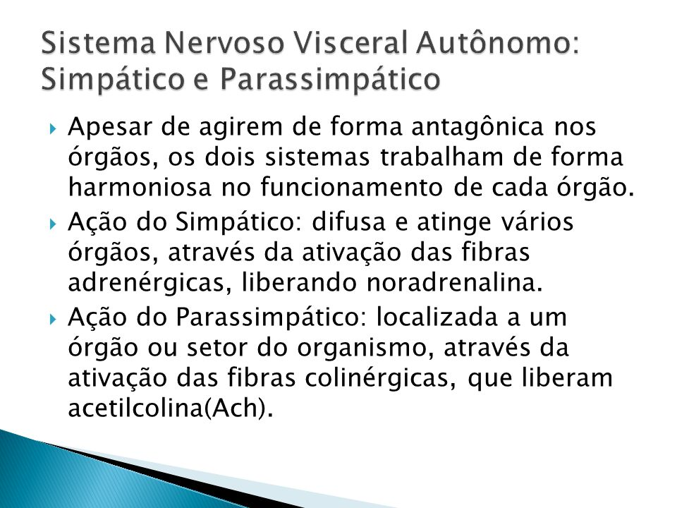 Sistema Nervoso Visceral Autônomo: Simpático e Parassimpático