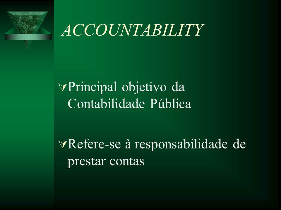 ACCOUNTABILITY Principal objetivo da Contabilidade Pública