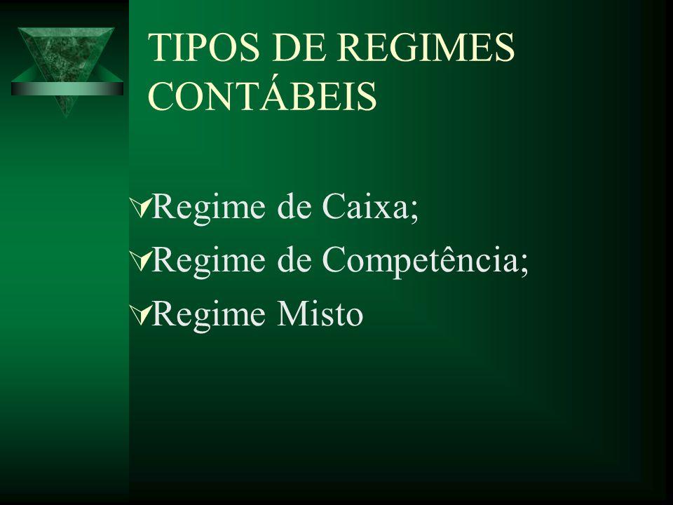 TIPOS DE REGIMES CONTÁBEIS