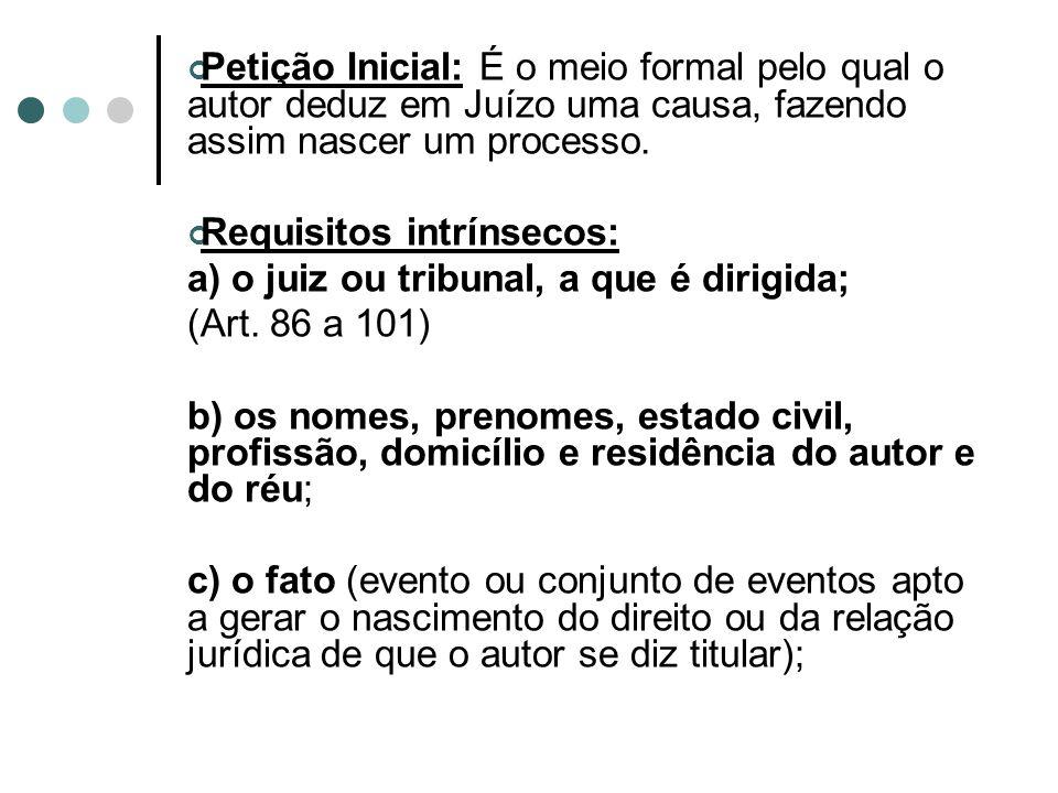 Petição Inicial: É o meio formal pelo qual o autor deduz em Juízo uma causa, fazendo assim nascer um processo.