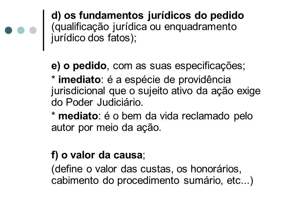 d) os fundamentos jurídicos do pedido (qualificação jurídica ou enquadramento jurídico dos fatos);