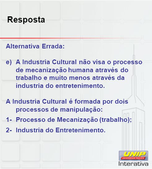 Resposta Alternativa Errada: