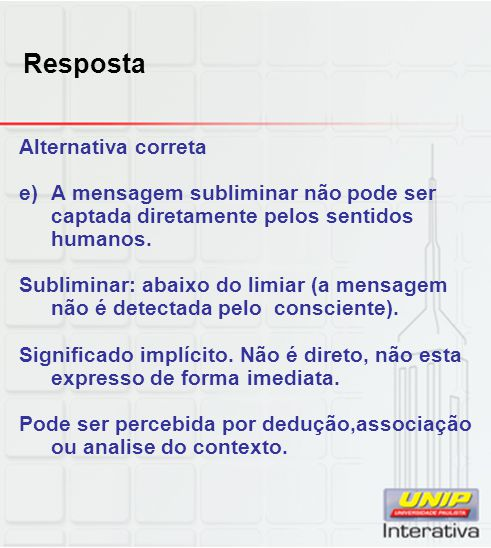 Resposta Alternativa correta