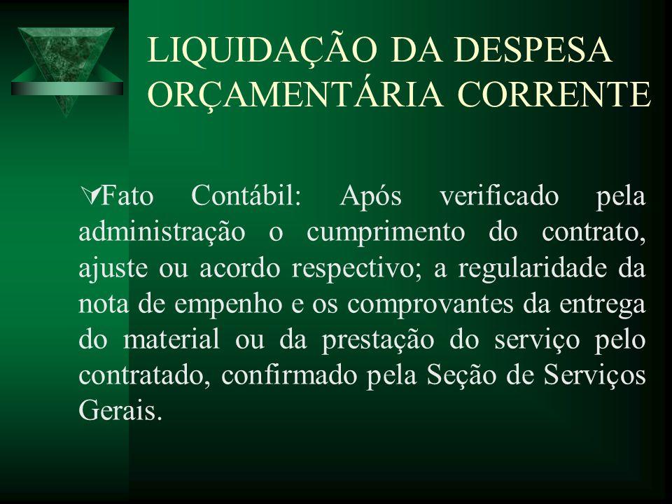 LIQUIDAÇÃO DA DESPESA ORÇAMENTÁRIA CORRENTE