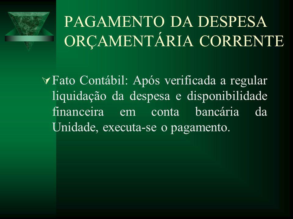 PAGAMENTO DA DESPESA ORÇAMENTÁRIA CORRENTE
