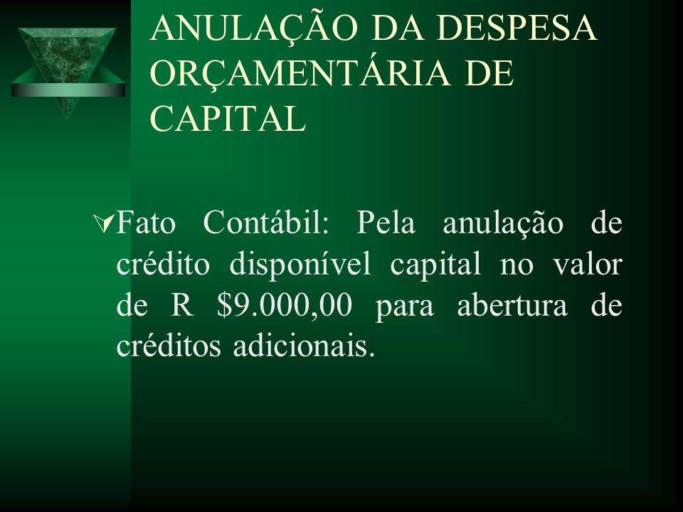 ANULAÇÃO DA DESPESA ORÇAMENTÁRIA DE CAPITAL