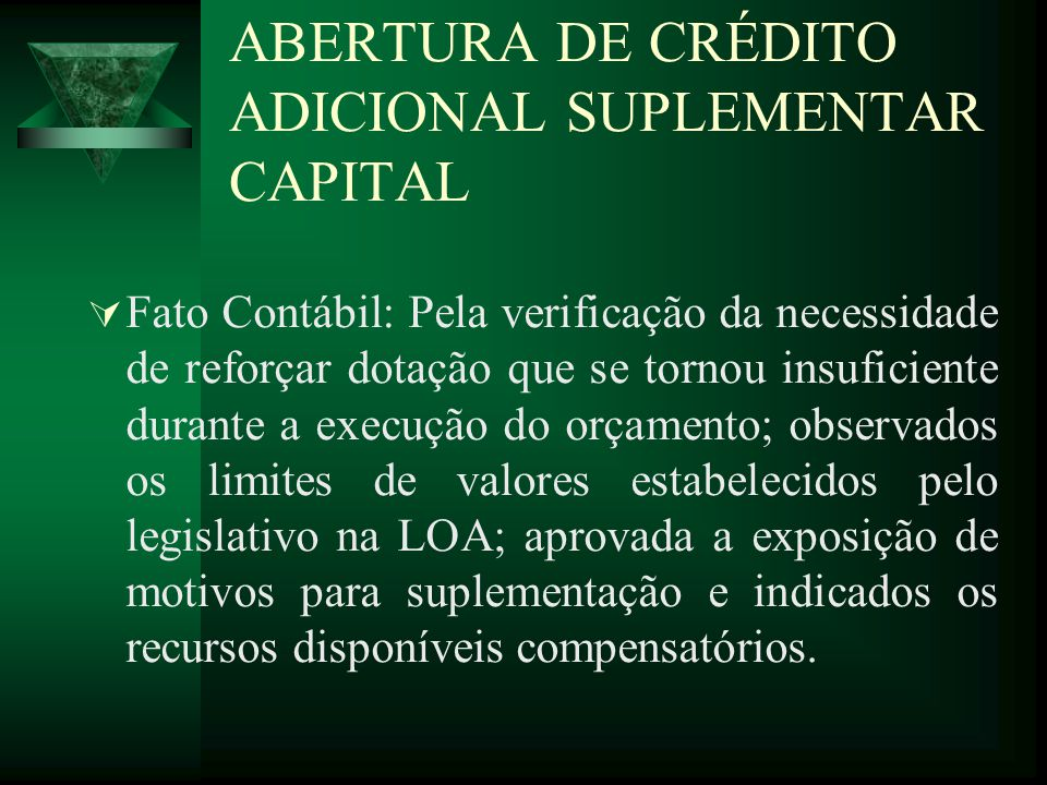 ABERTURA DE CRÉDITO ADICIONAL SUPLEMENTAR CAPITAL