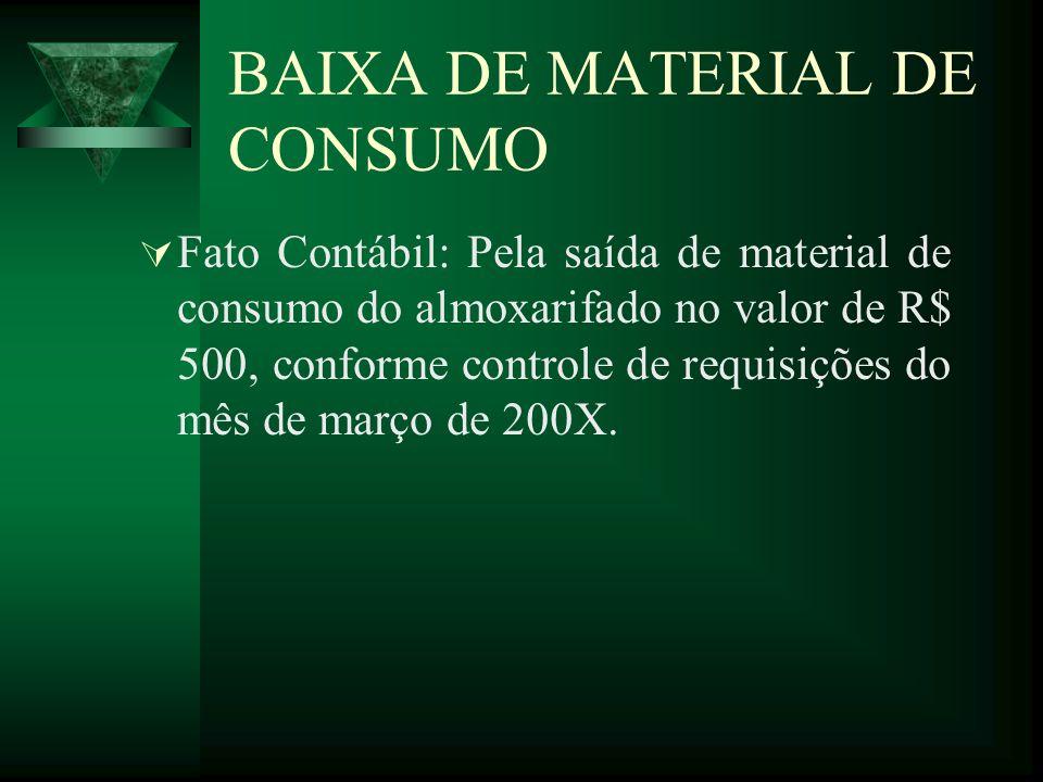 BAIXA DE MATERIAL DE CONSUMO
